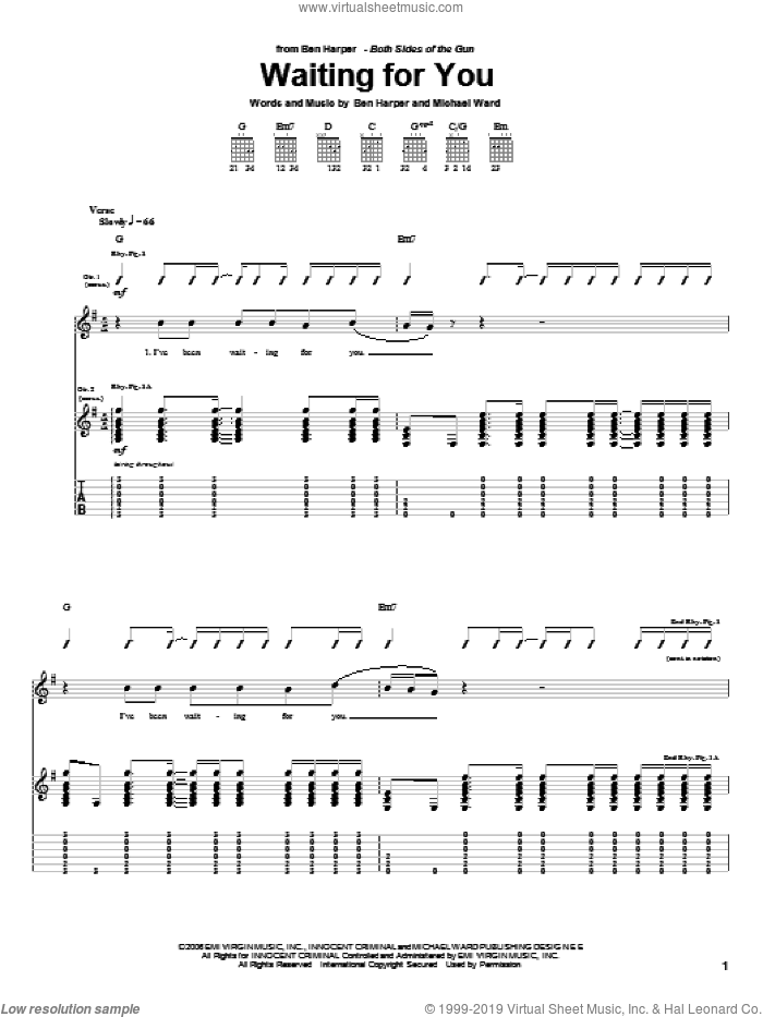 Waiting For You sheet music for guitar (tablature) by Michael Ward