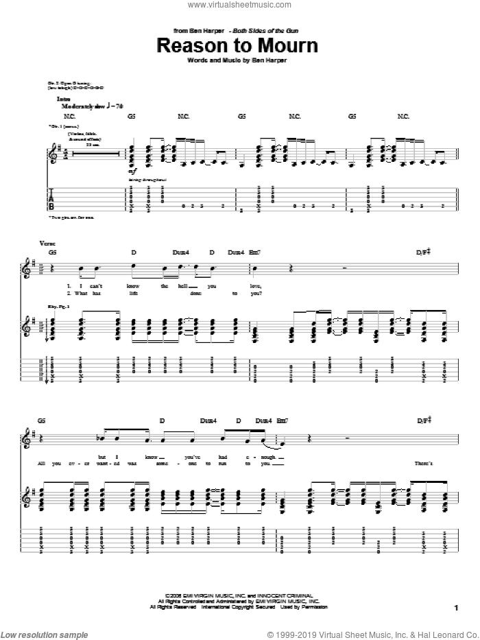 Reason To Mourn sheet music for guitar (tablature) by Ben Harper. Score Image Preview.