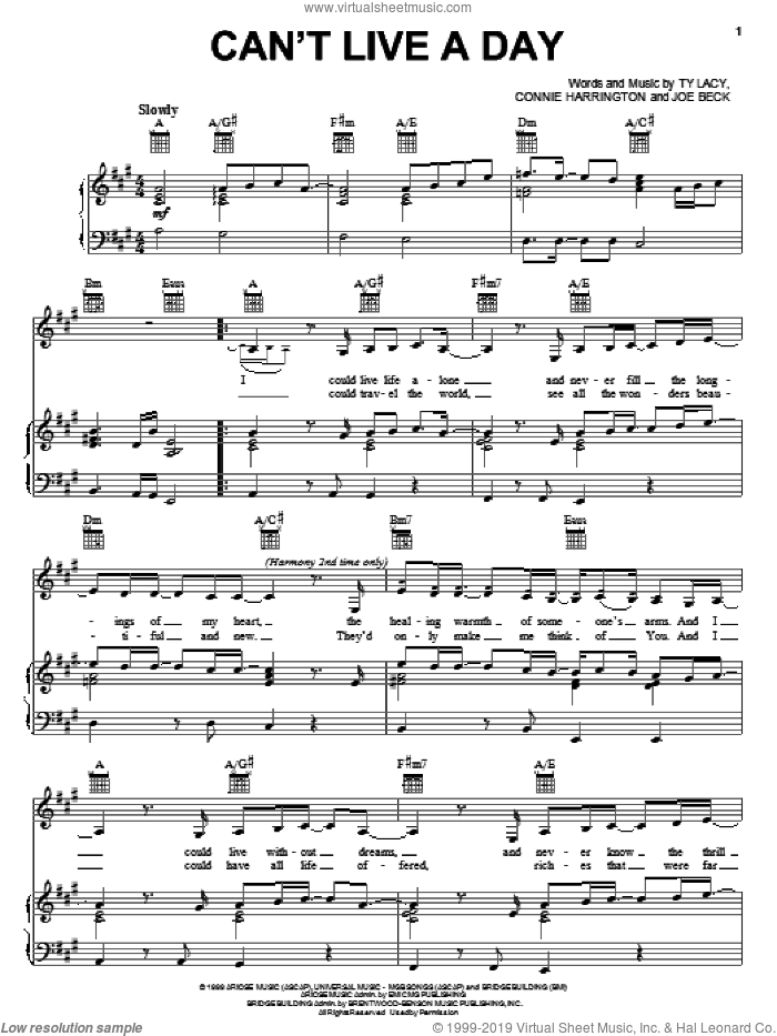Can't Live A Day sheet music for voice, piano or guitar by Avalon, Connie Harrington and Ty Lacy, wedding score, intermediate voice, piano or guitar. Score Image Preview.