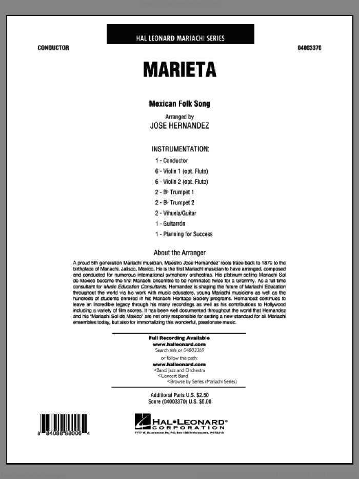 Marieta (COMPLETE) sheet music for concert band by Jose Hernandez and Mexican Folksong, classical score, intermediate skill level