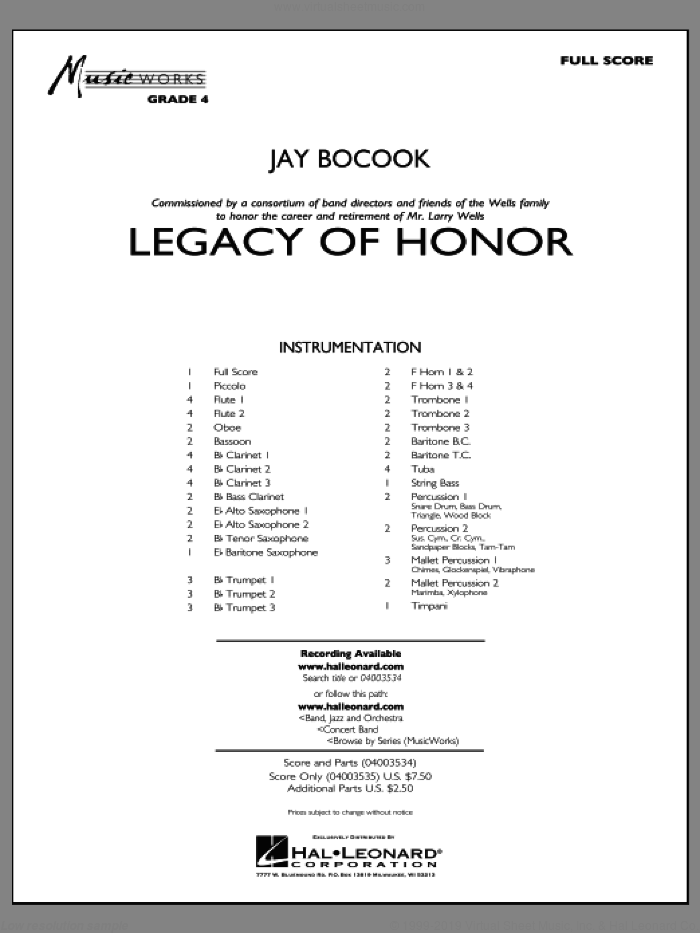 Legacy of Honor sheet music for concert band (full score) by Jay Bocook
