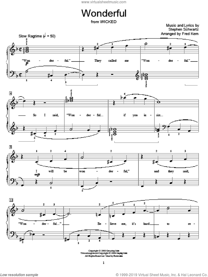 Wonderful sheet music for piano solo (elementary) by Stephen Schwartz, Fred Kern and Miscellaneous. Score Image Preview.