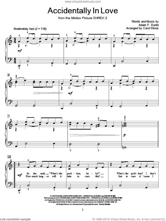 Accidentally In Love sheet music for piano solo (elementary) by Counting Crows, Miscellaneous and Adam Duritz, beginner piano (elementary)