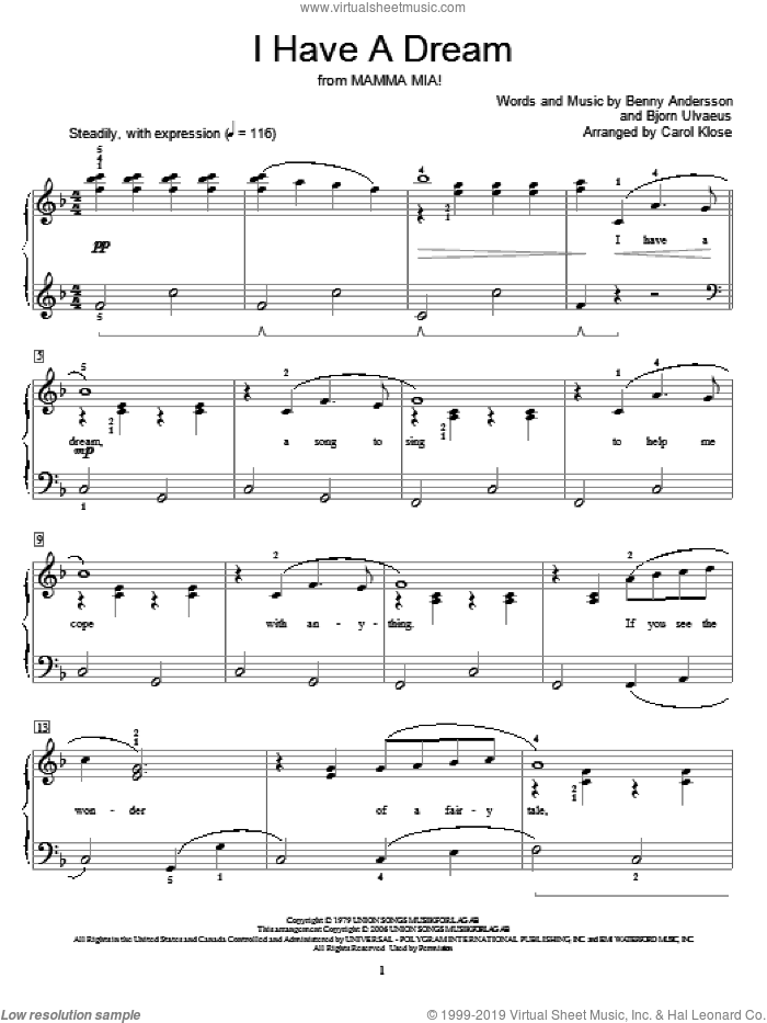 I Have A Dream sheet music for piano solo (elementary) by ABBA, Miscellaneous, Benny Andersson and Bjorn Ulvaeus, beginner piano (elementary)