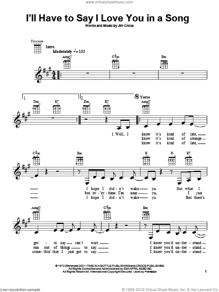 I'll Have To Say I Love You In A Song sheet music for ukulele by Jim Croce, intermediate skill level