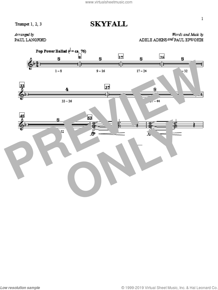 Adele - Skyfall (complete set of parts) sheet music for orchestra/band