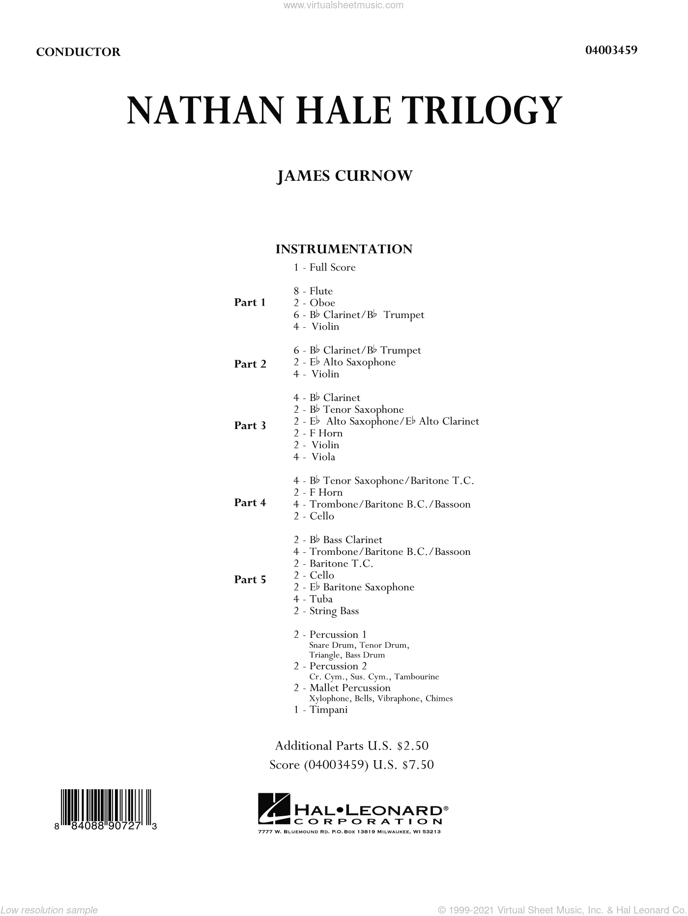 Nathan Hale Trilogy sheet music for concert band (full score) by James Curnow