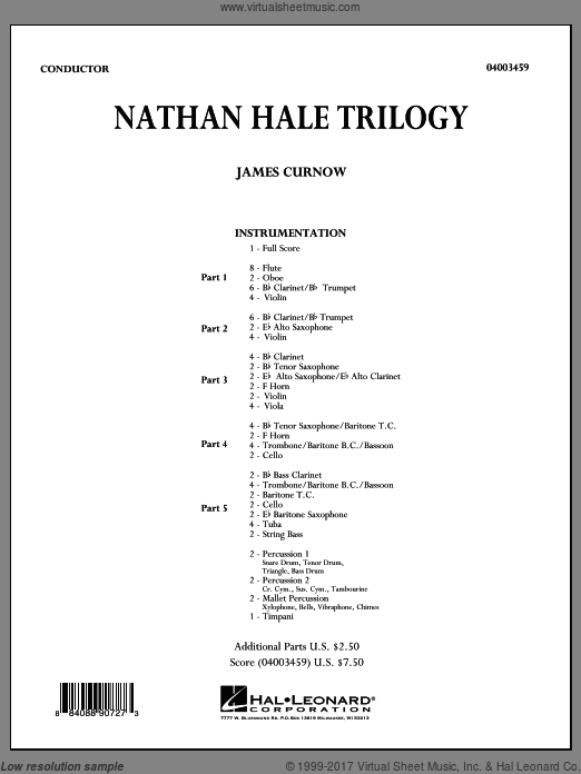Nathan Hale Trilogy (COMPLETE) sheet music for concert band by James Curnow