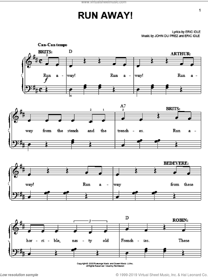 Run Away! sheet music for piano solo (chords) by John Du Prez
