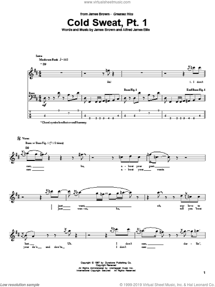 Cold Sweat, Pt. 1 sheet music for bass (tablature) (bass guitar) by James Brown and Alfred James Ellis, intermediate bass (tablature) (bass guitar). Score Image Preview.