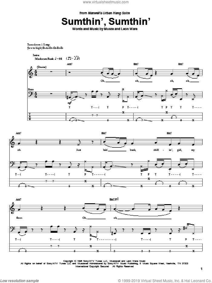 Sumthin', Sumthin' sheet music for bass (tablature) (bass guitar) by Kate Bush, Leon Ware and Musze, intermediate. Score Image Preview.