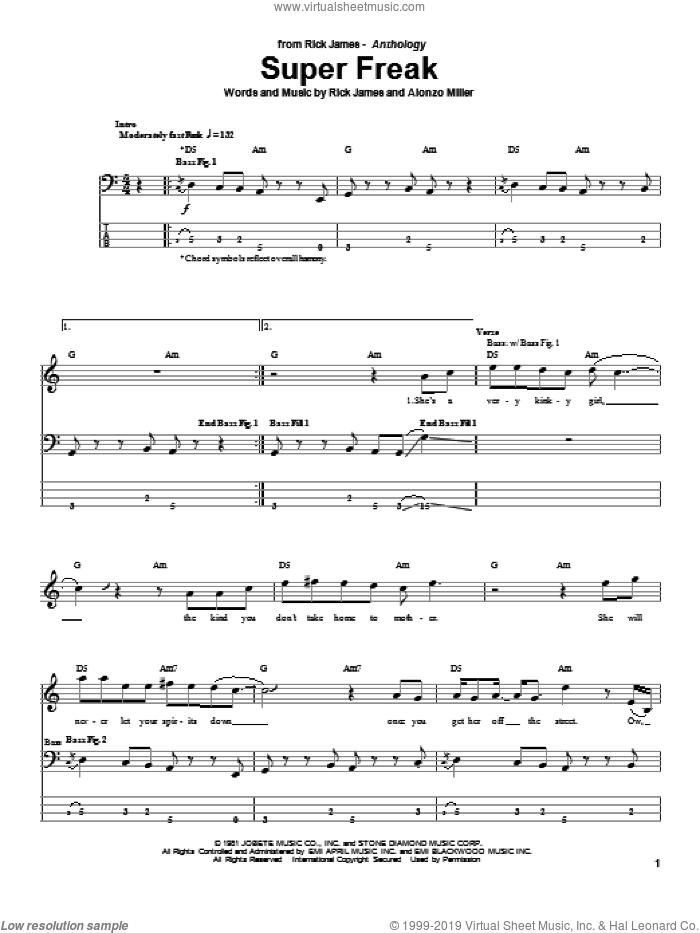 Super Freak sheet music for bass (tablature) (bass guitar) by Rick James and Alonzo Miller, intermediate skill level