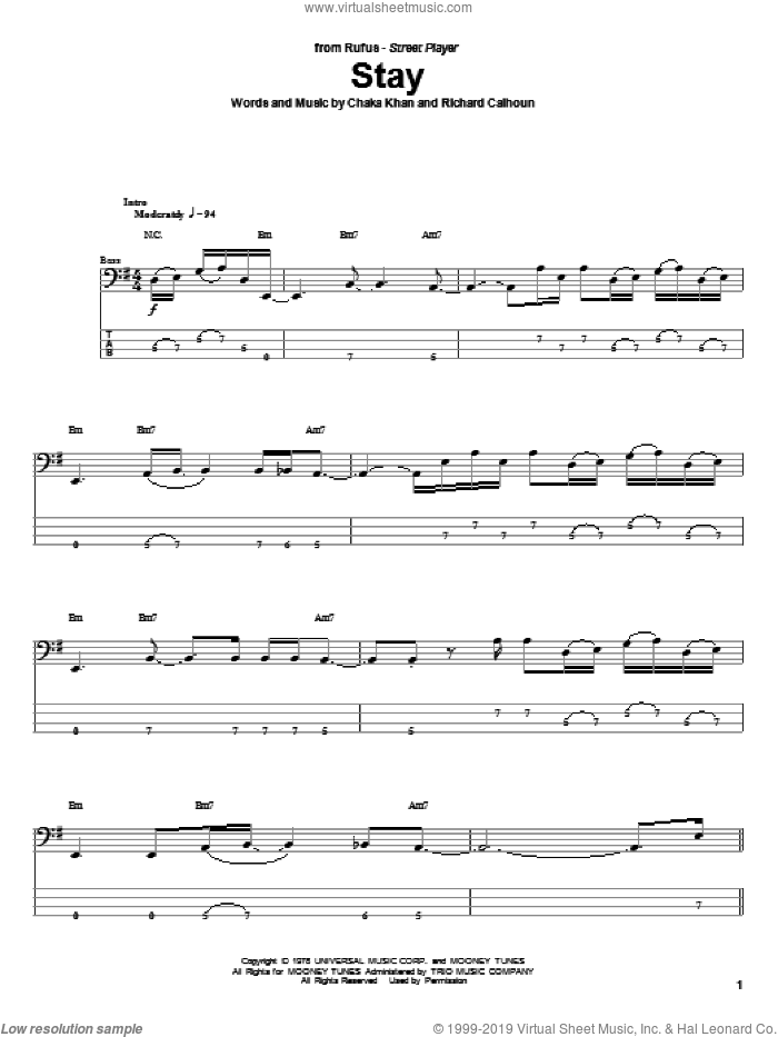 Stay sheet music for bass (tablature) (bass guitar) by Richard Moon Calhoun