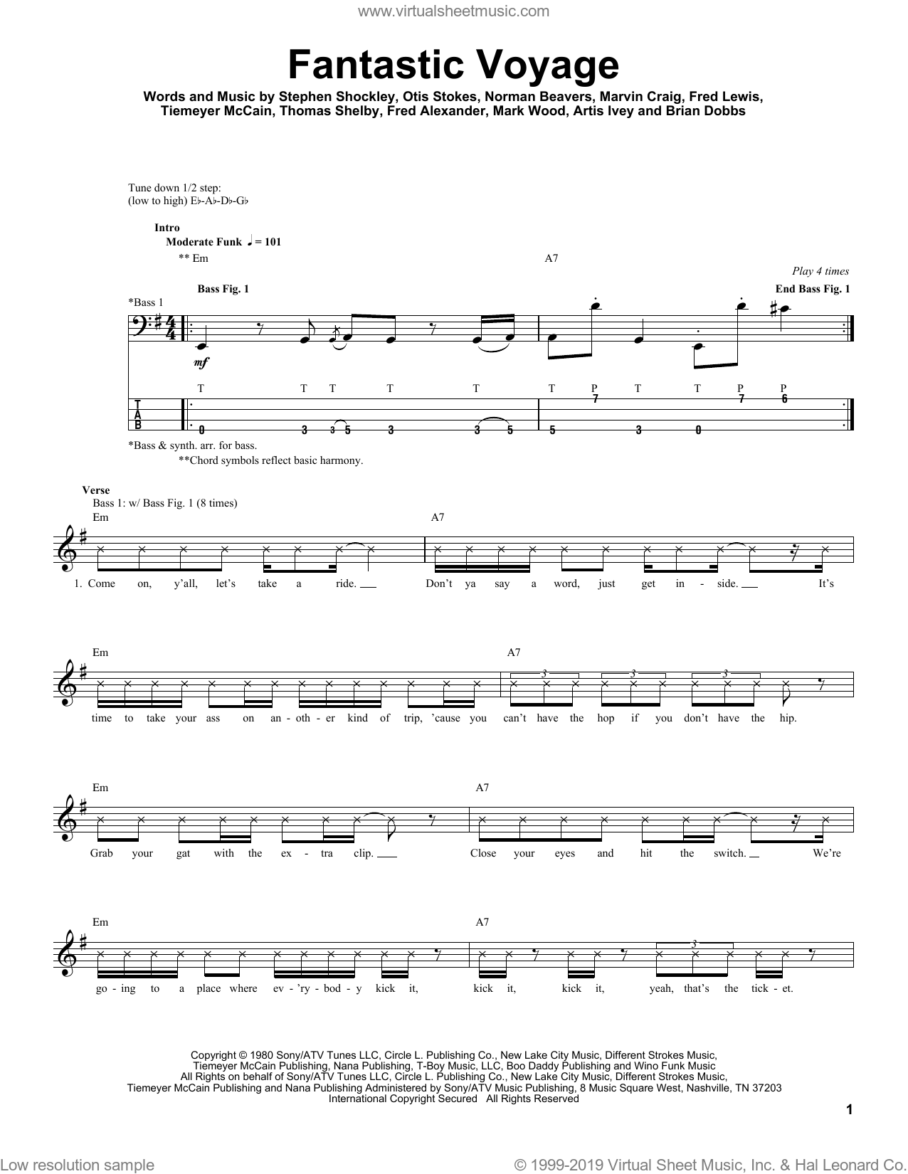 Fantastic Voyage sheet music for bass (tablature) (bass guitar) by Coolio, Artis Ivey, Brian Dobbs, Fred Alexander, Fred Lewis, Mark Wood, Marvin Craig, Norman Beavers, Otis Stokes, Stephen Shockley, Thomas Shelby and Tiemeyer McCain, intermediate skill level