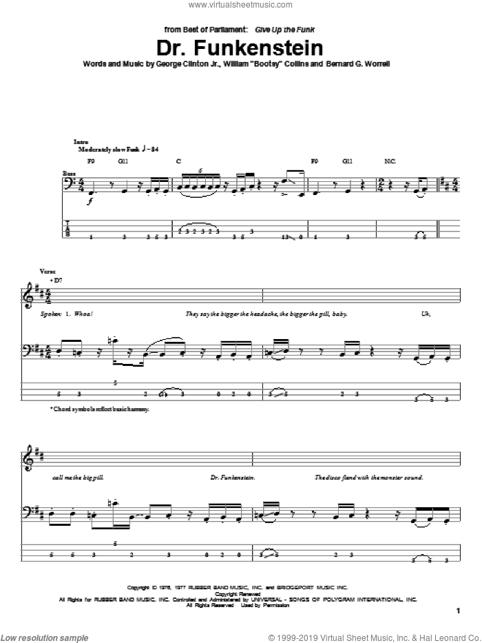 Dr. Funkenstein sheet music for bass (tablature) (bass guitar) by William Collins and Red Hot Chili Peppers. Score Image Preview.