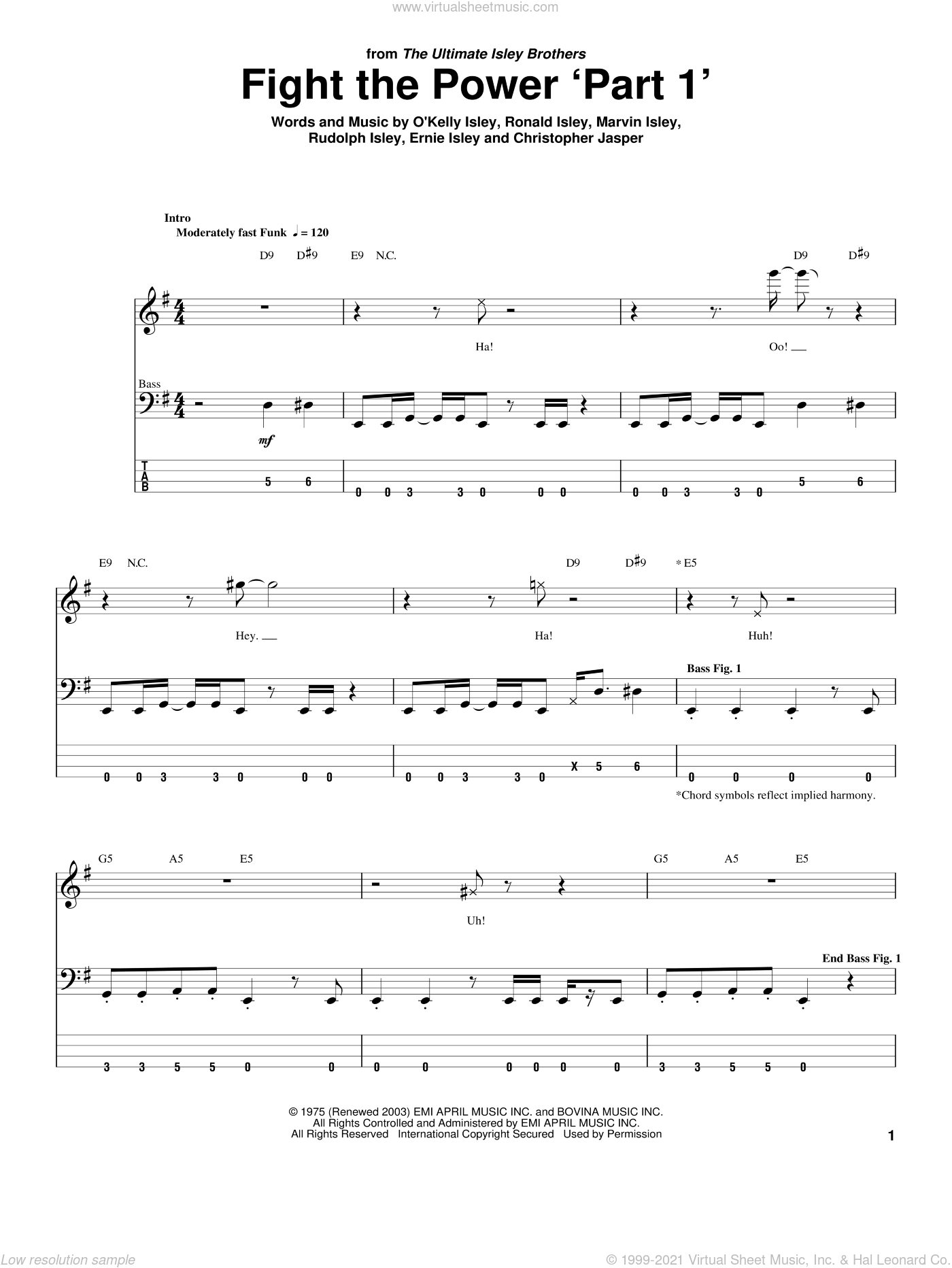 Fight The Power 'Part 1' sheet music for bass (tablature) (bass guitar) by Rudolph Isley