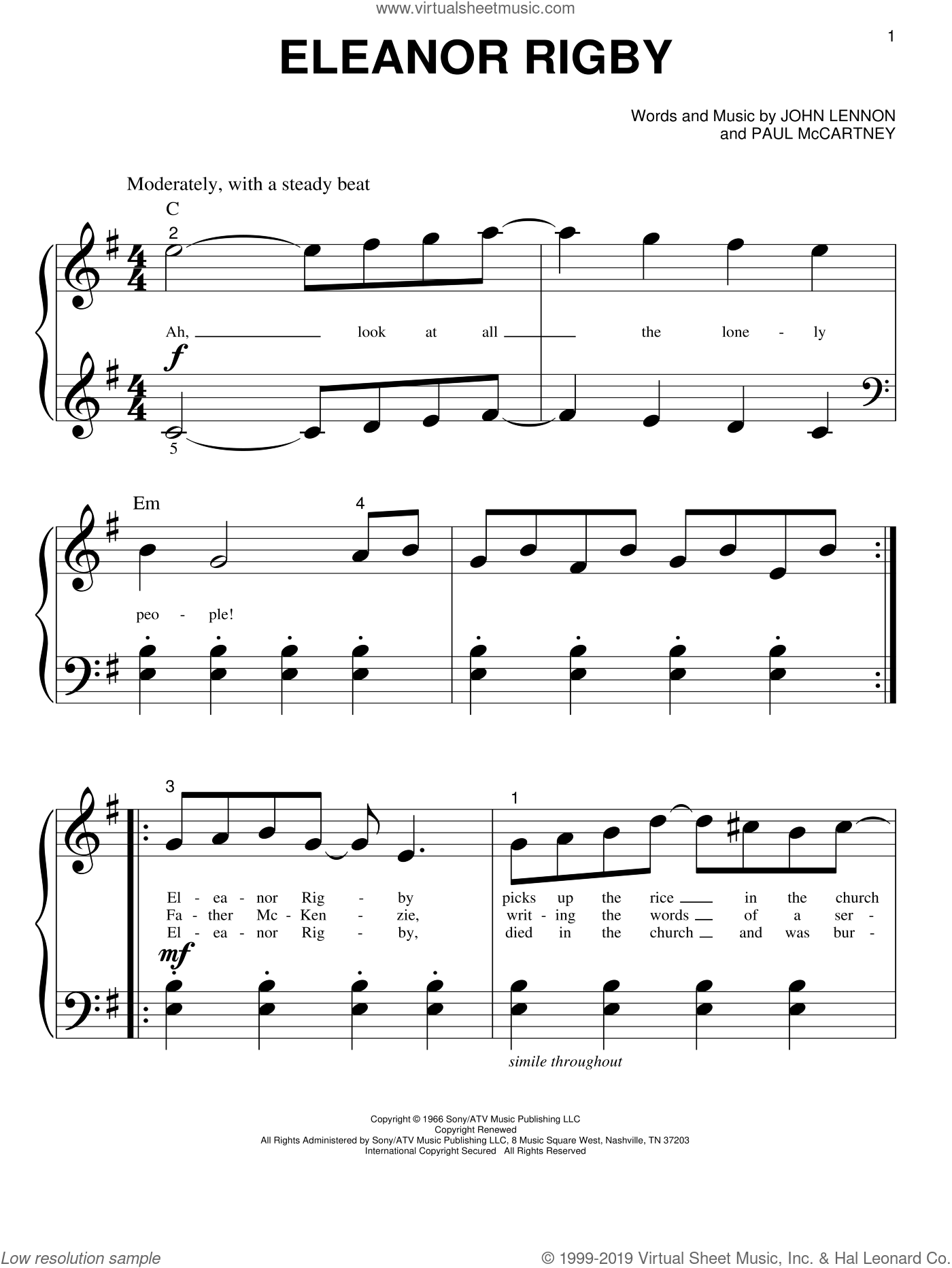 Eleanor Rigby sheet music for piano solo (big note book) by The Beatles, John Lennon and Paul McCartney, easy piano (big note book). Score Image Preview.