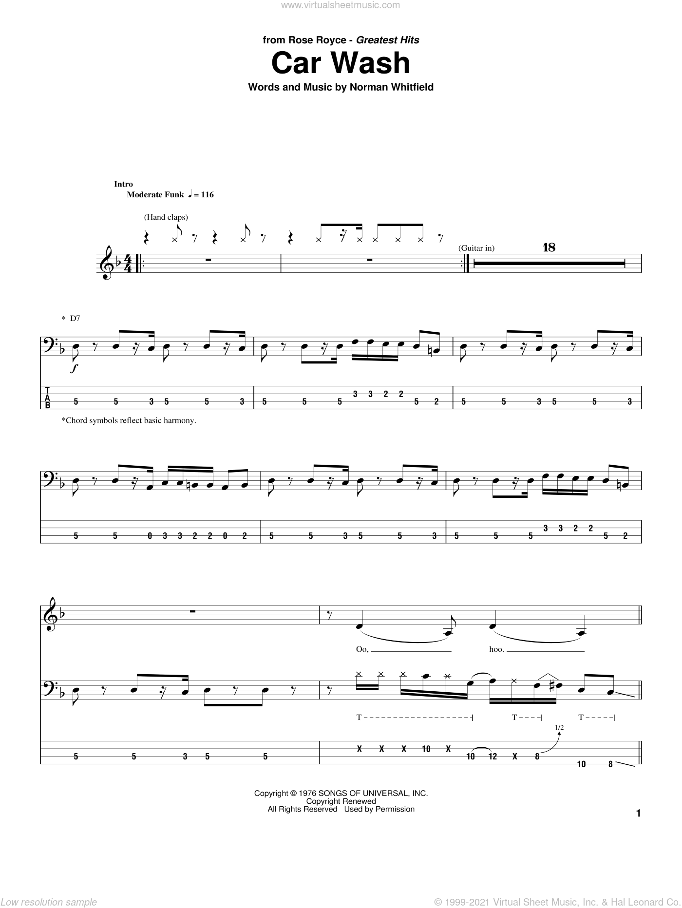 Car Wash sheet music for bass (tablature) (bass guitar) by Norman Whitfield. Score Image Preview.