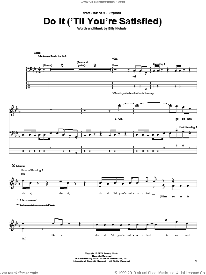 Do It ('Til You're Satisfied) sheet music for bass (tablature) (bass guitar) by B.T. Express, intermediate bass (tablature) (bass guitar). Score Image Preview.