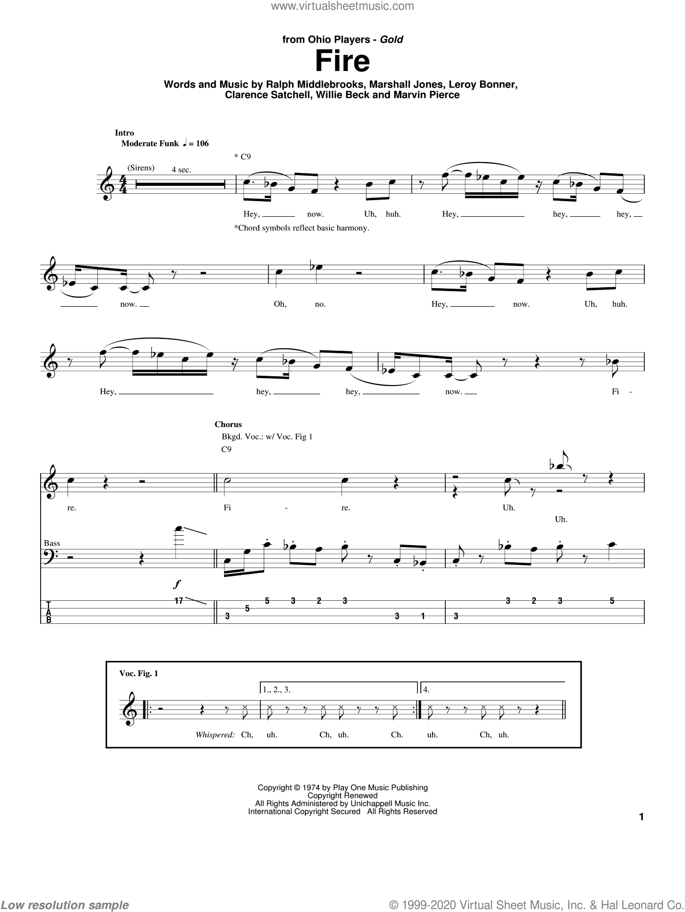 Fire sheet music for bass (tablature) (bass guitar) by Ohio Players, Clarence Satchell, Leroy Bonner, Marshall Jones, Marvin Pierce, Ralph Middlebrooks and Willie Beck. Score Image Preview.