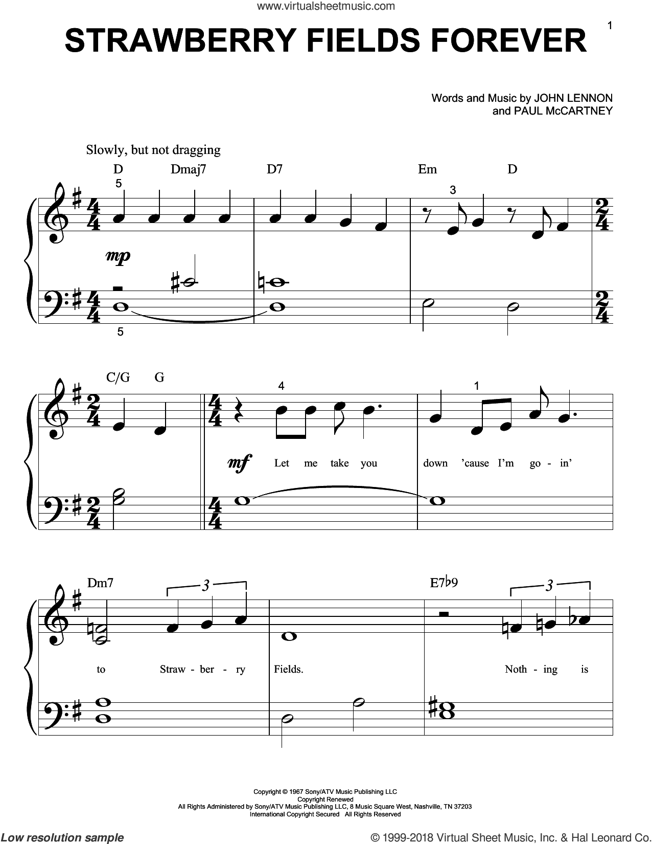 Strawberry Fields Forever sheet music for piano solo (big note book) by The Beatles, John Lennon and Paul McCartney, easy piano (big note book)