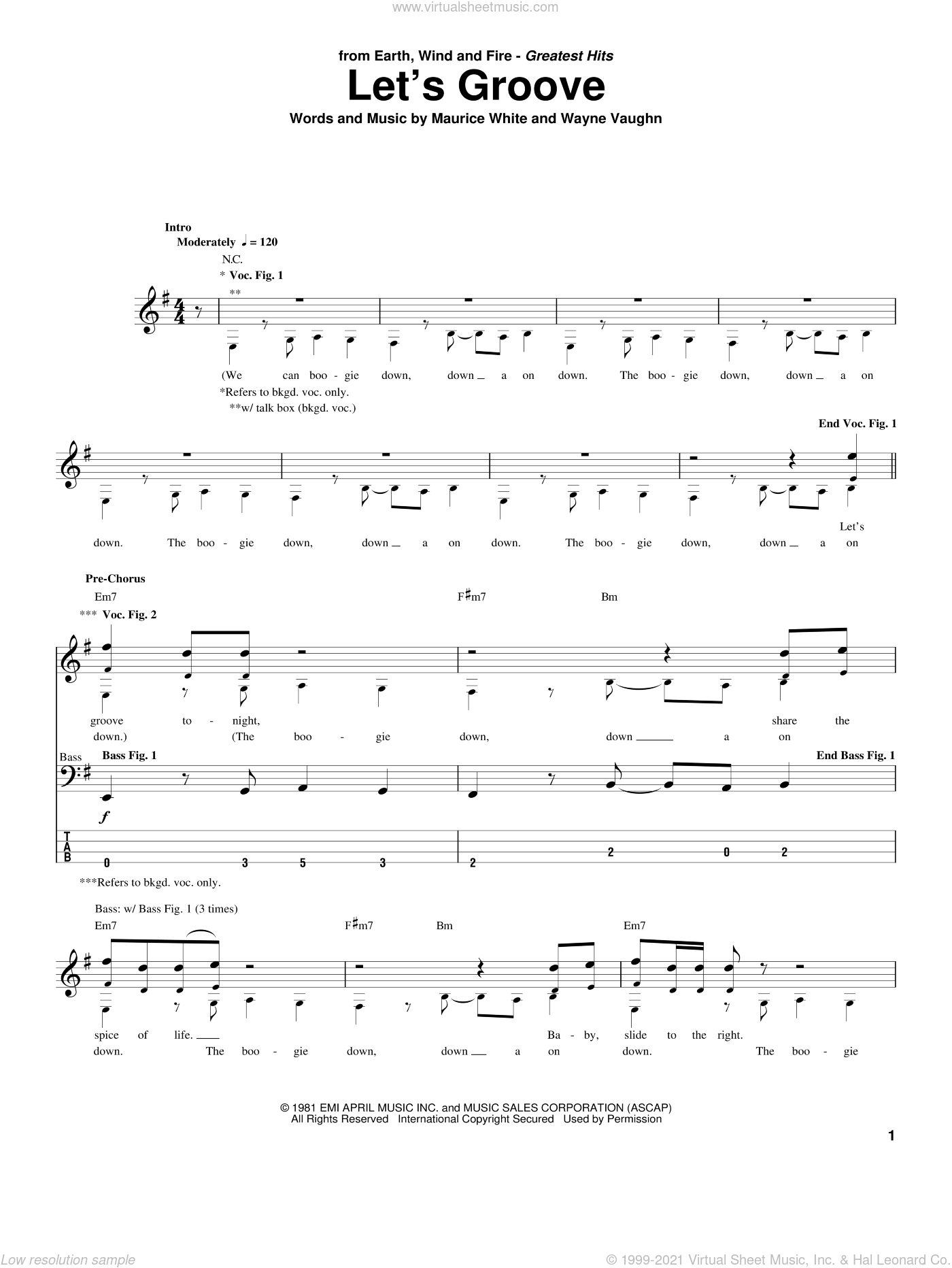 Let's Groove sheet music for bass (tablature) (bass guitar) by Earth, Wind & Fire, Maurice White and Wayne Vaughn, intermediate