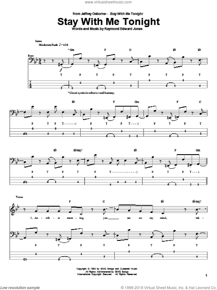 Stay With Me Tonight sheet music for bass (tablature) (bass guitar) by Jeffrey Osbourne and Raymond Edward Jones, intermediate. Score Image Preview.
