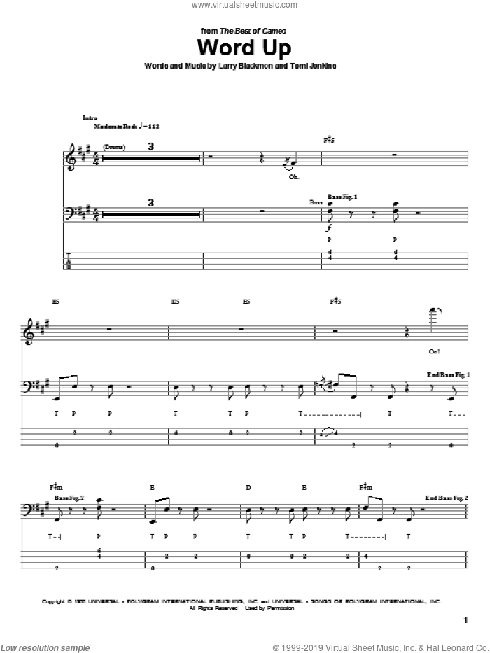 Word Up sheet music for bass (tablature) (bass guitar) by Tomi Jenkins and Larry Blackmon. Score Image Preview.