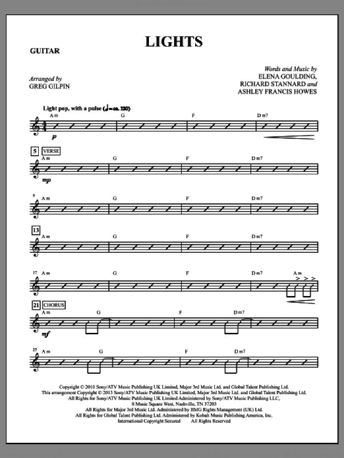 Lights (complete set of parts) sheet music for orchestra/band by Greg Gilpin, Elena Goulding and Ellie Goulding, intermediate orchestra/band. Score Image Preview.