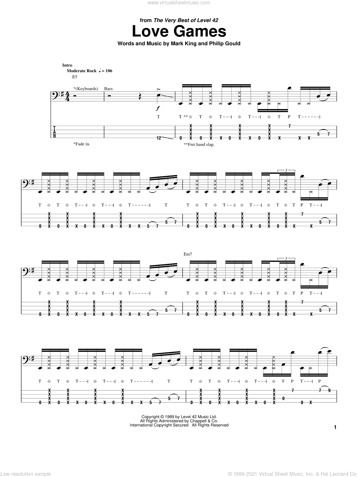 Love Games sheet music for bass (tablature) (bass guitar) by Level 42, Mark King and Philip Gould, intermediate skill level
