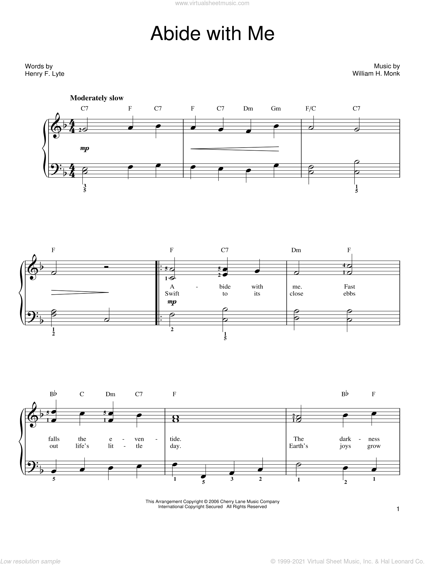 Abide With Me sheet music for piano solo by Henry F. Lyte and William Henry Monk, easy skill level