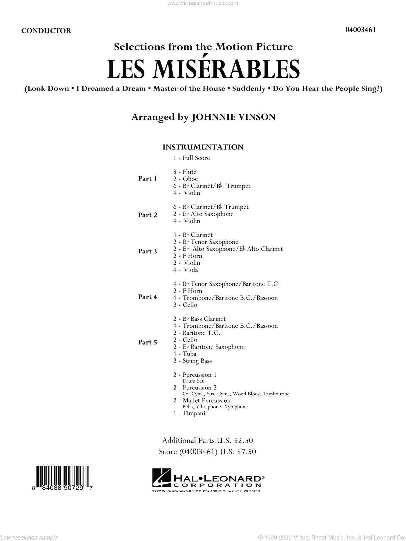 Les Miserables (Selections from the Motion Picture) sheet music for concert band (full score) by Johnnie Vinson