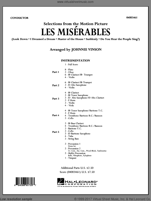 Les Miserables (Selections from the Motion Picture) (COMPLETE) sheet music for concert band by Johnnie Vinson