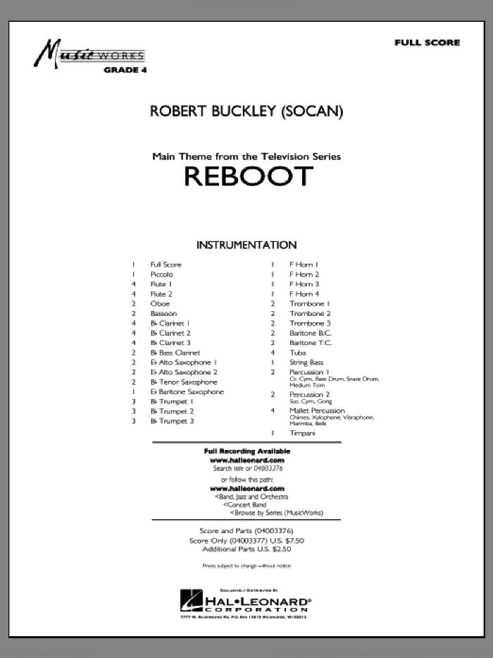 Reboot sheet music for concert band (full score) by Robert Buckley