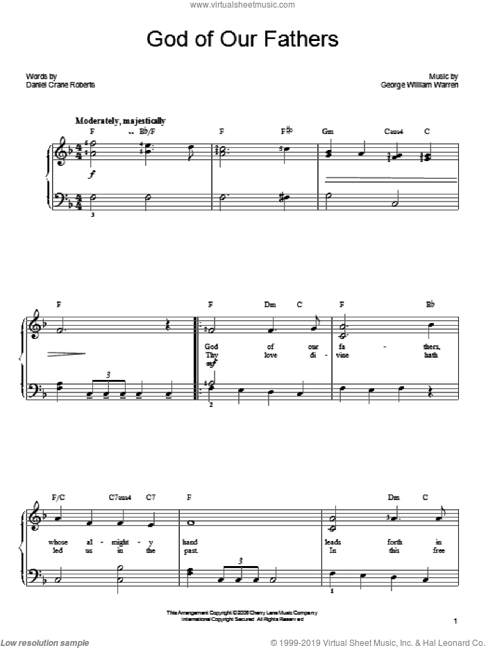 God Of Our Fathers sheet music for piano solo by Daniel Crane Roberts and George William Warren, easy skill level