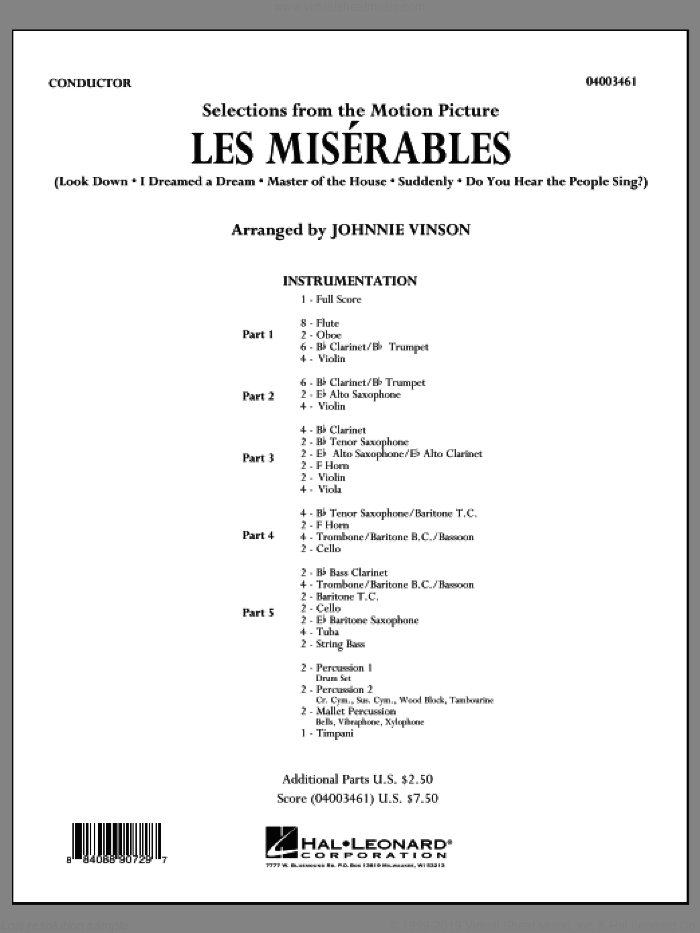 Les Miserables (Selections from the Motion Picture) (COMPLETE) sheet music for concert band by Johnnie Vinson, intermediate concert band. Score Image Preview.