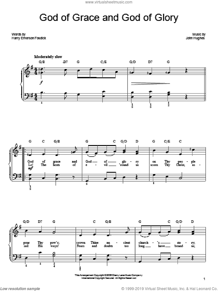 God Of Grace And God Of Glory sheet music for piano solo by John Hughes and Harry Emerson Fosdick. Score Image Preview.