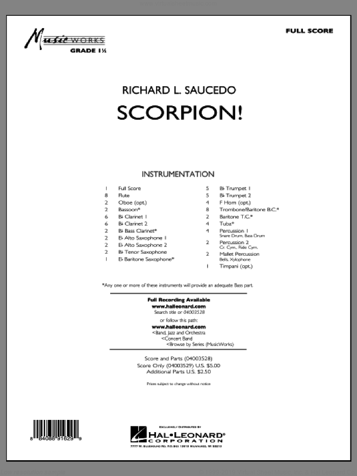 Scorpion! (COMPLETE) sheet music for concert band by Richard L. Saucedo, intermediate skill level