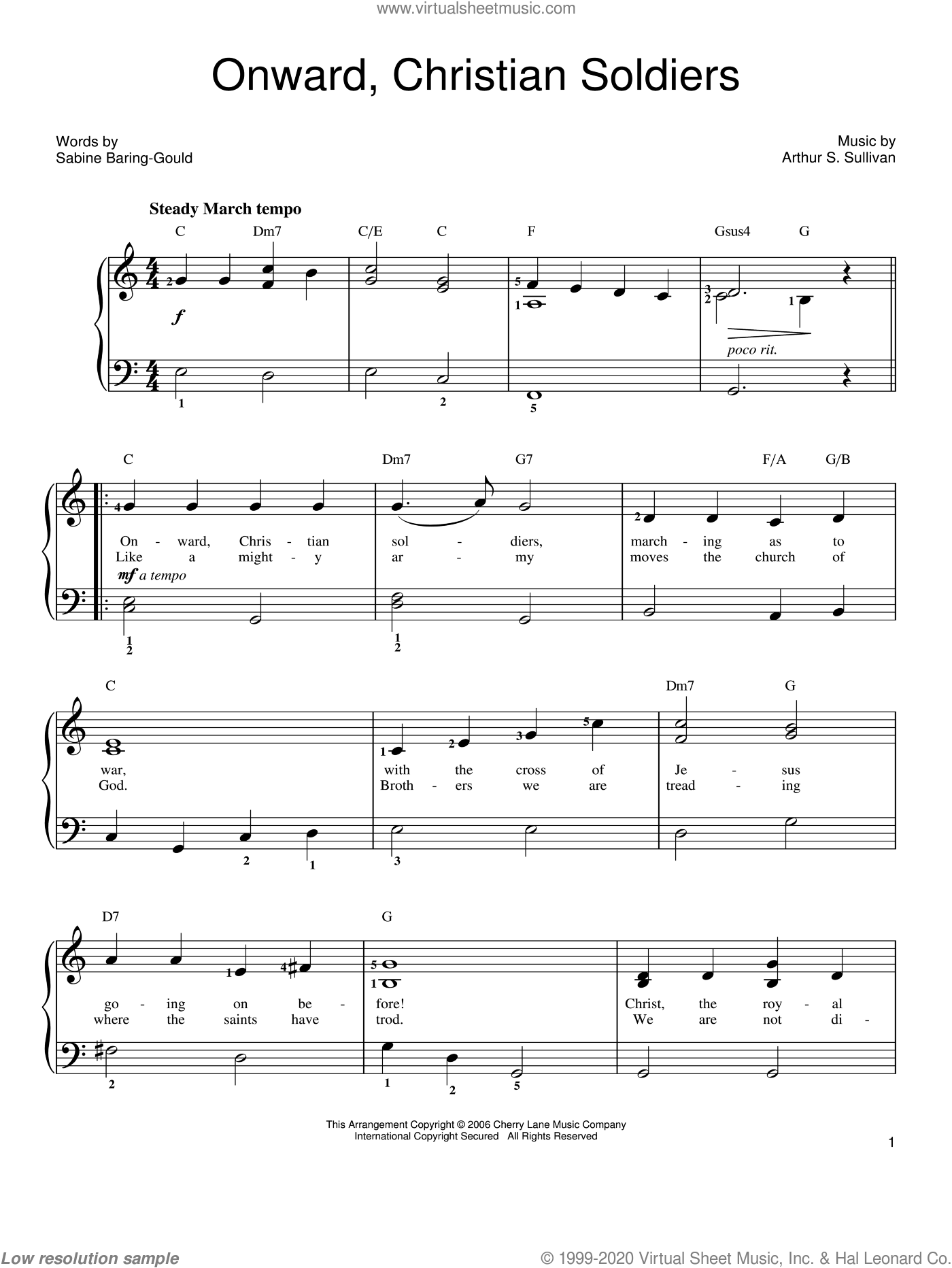 Onward, Christian Soldiers sheet music for piano solo by Sabine Baring-Gould and Arthur Sullivan. Score Image Preview.