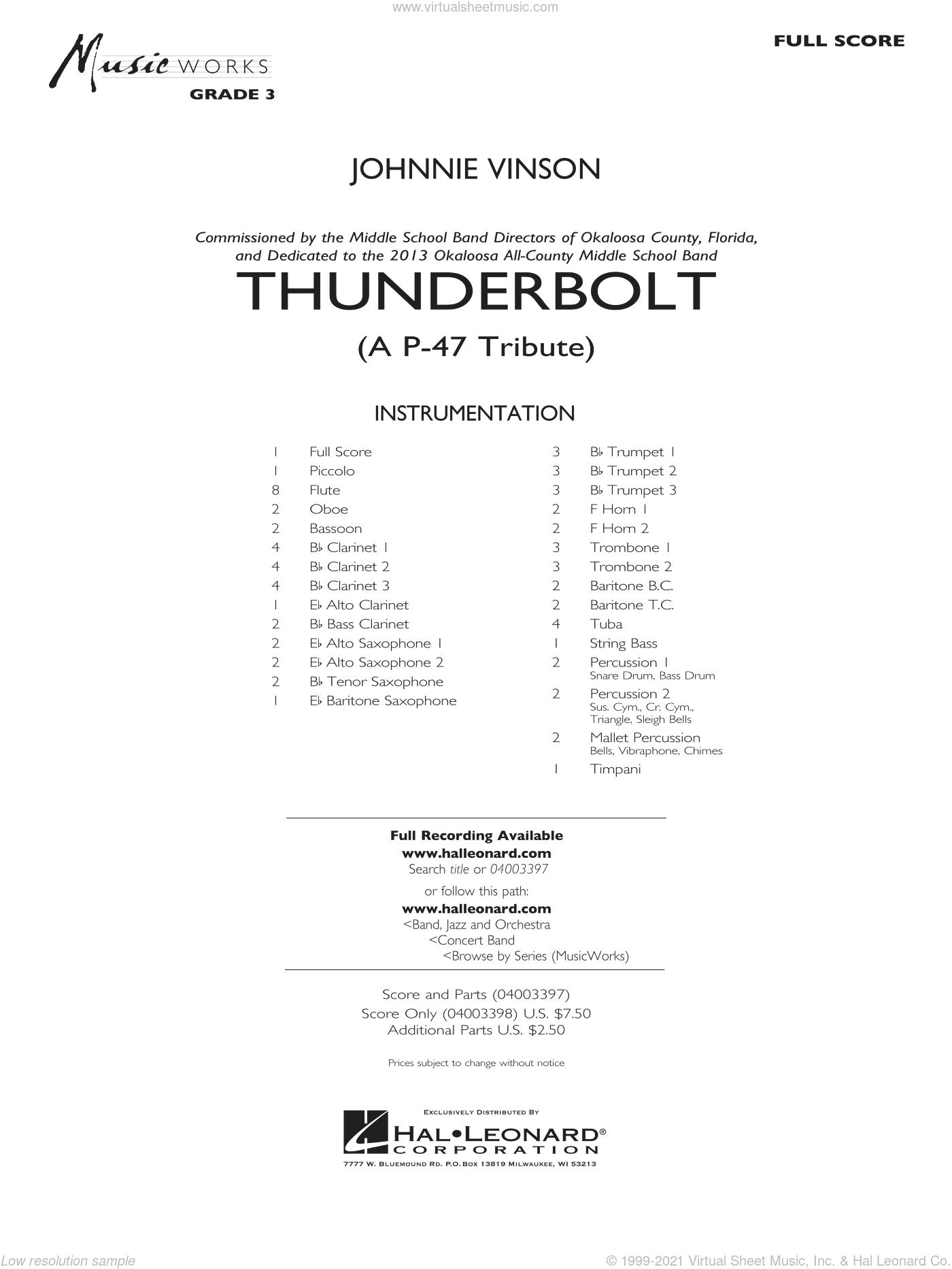 Thunderbolt (A P-47 Tribute) sheet music for concert band (full score) by Johnnie Vinson
