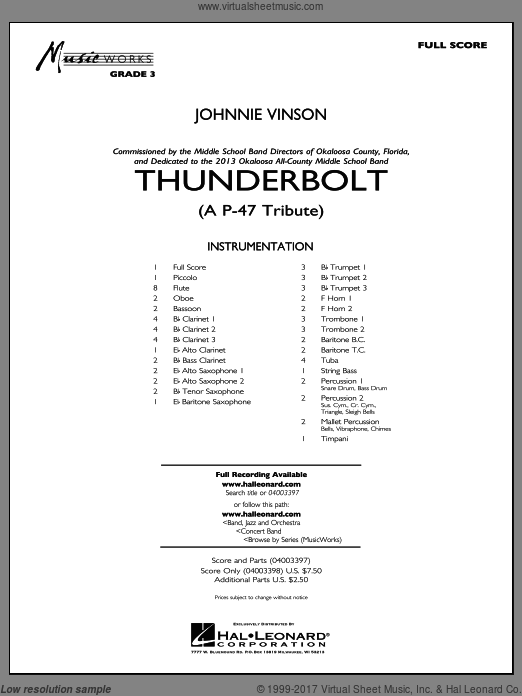 Thunderbolt (A P-47 Tribute) (COMPLETE) sheet music for concert band by Johnnie Vinson