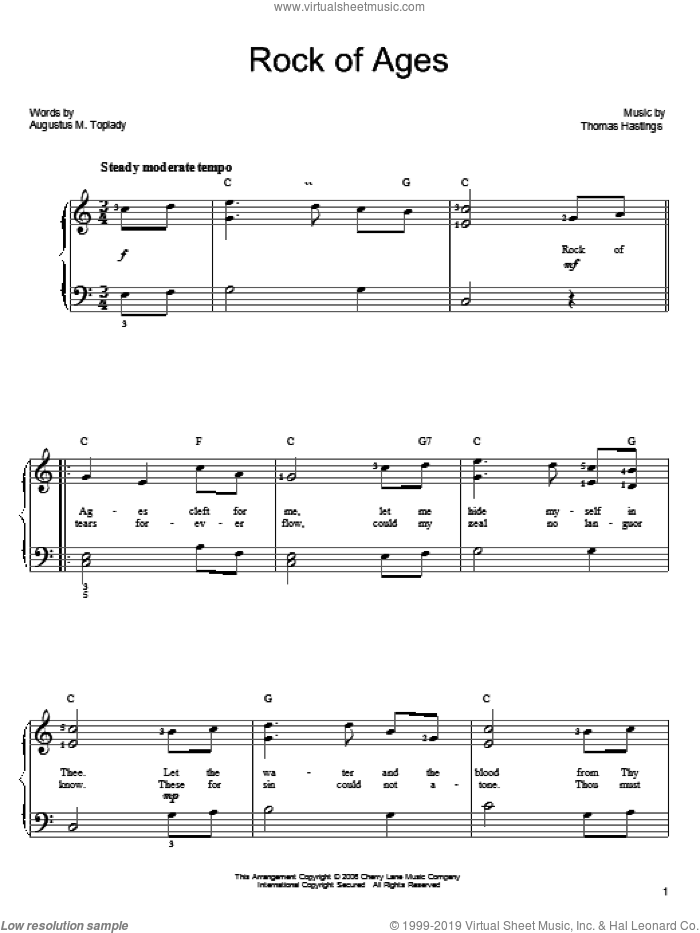 Rock Of Ages sheet music for piano solo by Thomas Hastings and Augustus M. Toplady. Score Image Preview.