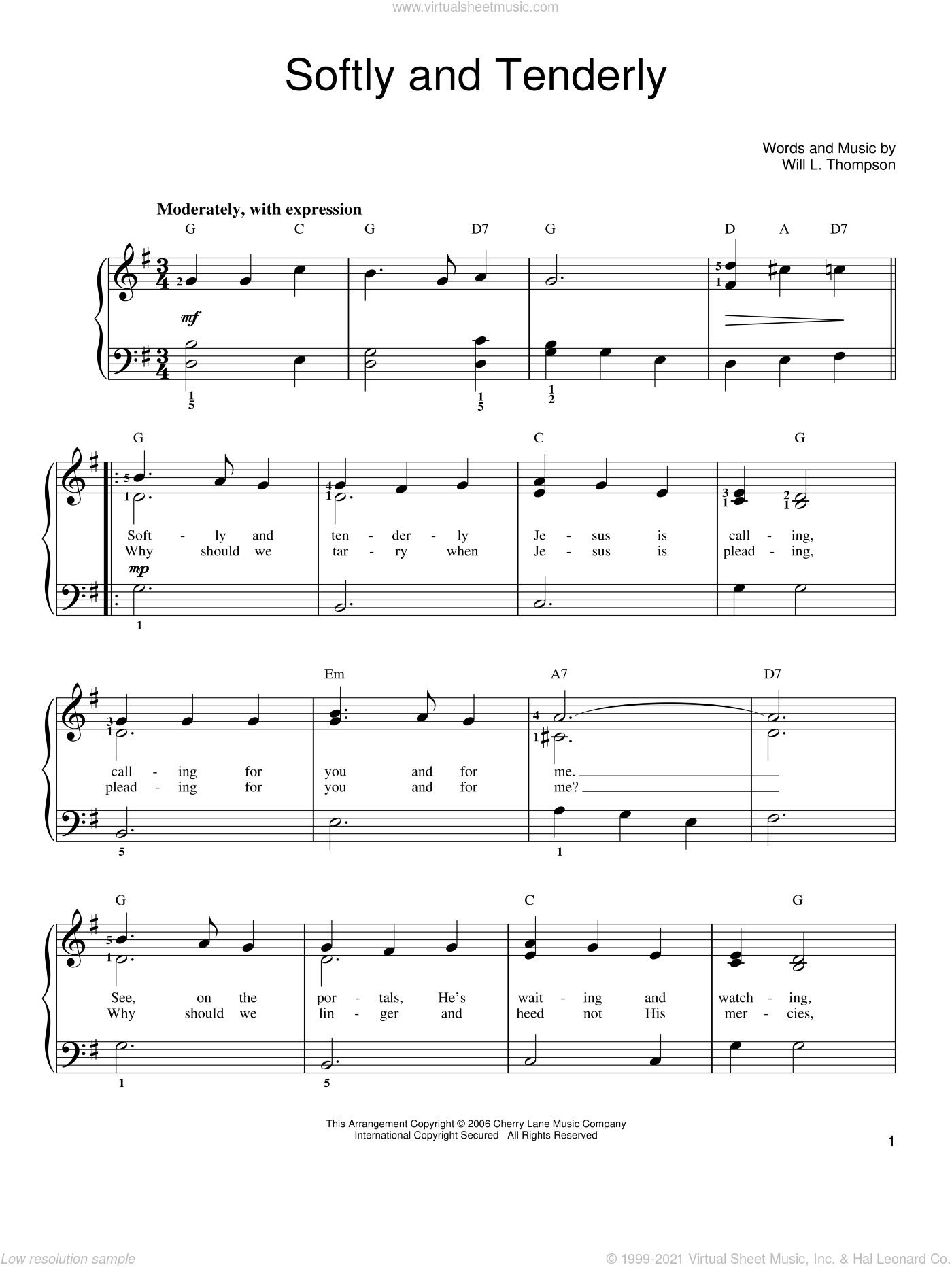 Softly And Tenderly sheet music for piano solo by Will L. Thompson. Score Image Preview.