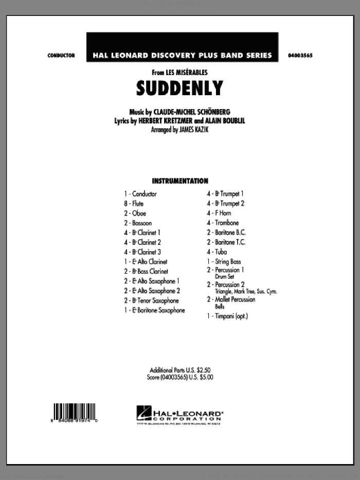 Suddenly (from Les Miserables) (COMPLETE) sheet music for concert band by Alain Boublil, Claude-Michel Schonberg and James Kazik, intermediate skill level