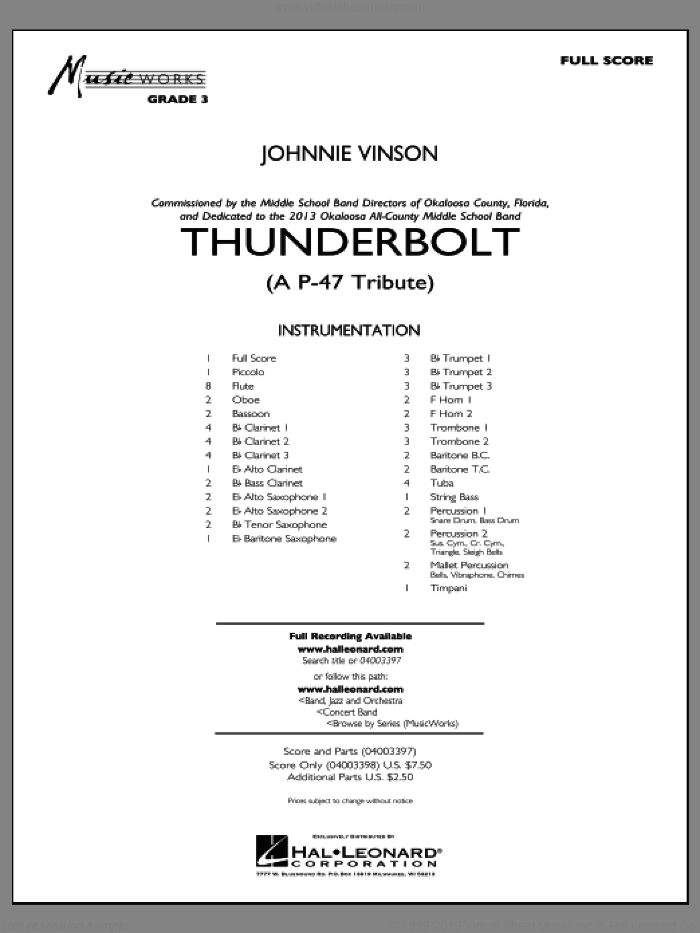 Thunderbolt (A P-47 Tribute) (COMPLETE) sheet music for concert band by Johnnie Vinson, intermediate skill level