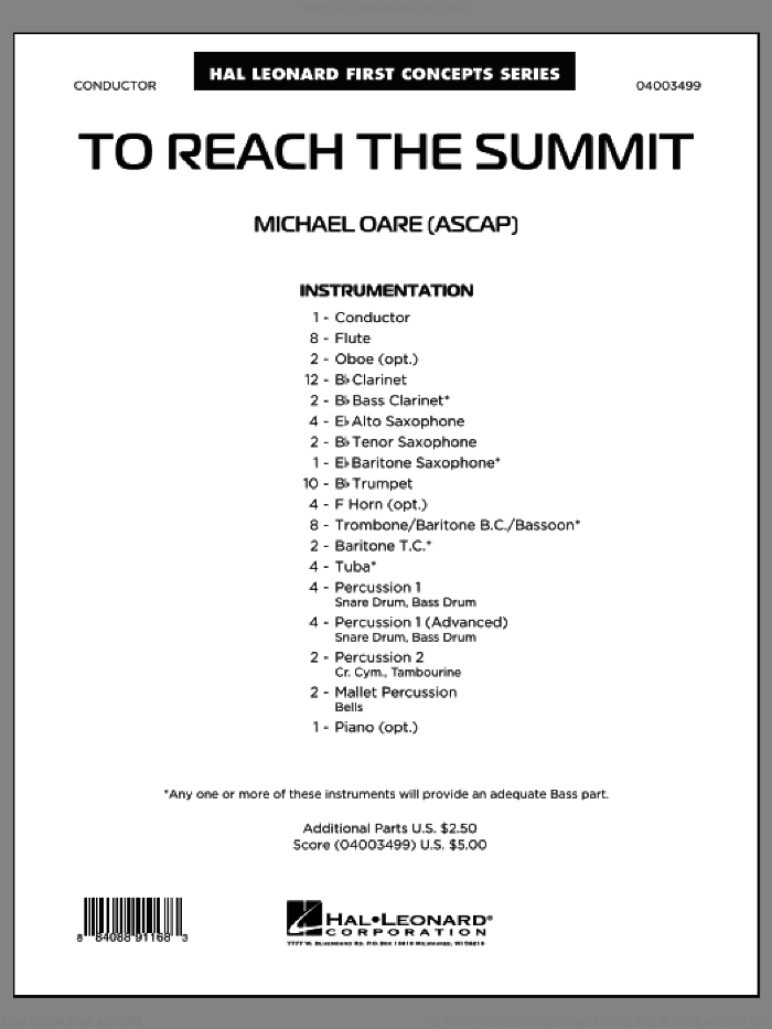 To Reach the Summit sheet music for concert band (full score) by Michael Oare
