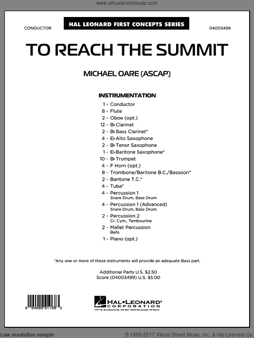 To Reach the Summit (COMPLETE) sheet music for concert band by Michael Oare