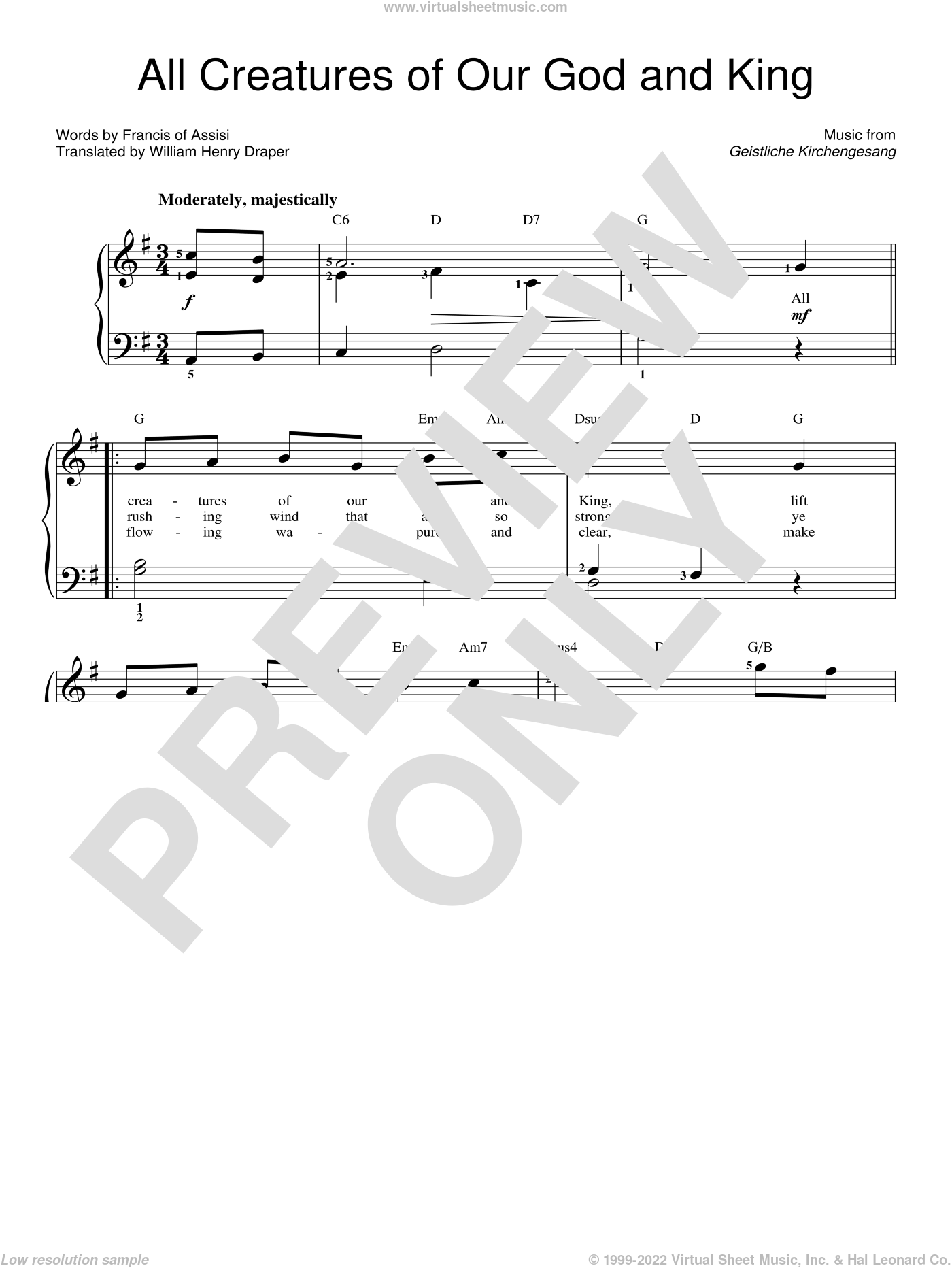 All Creatures Of Our God And King, (easy) sheet music for piano solo by Francis Of Assisi, Geistliche Kirchengesang and William Henry Draper, easy skill level