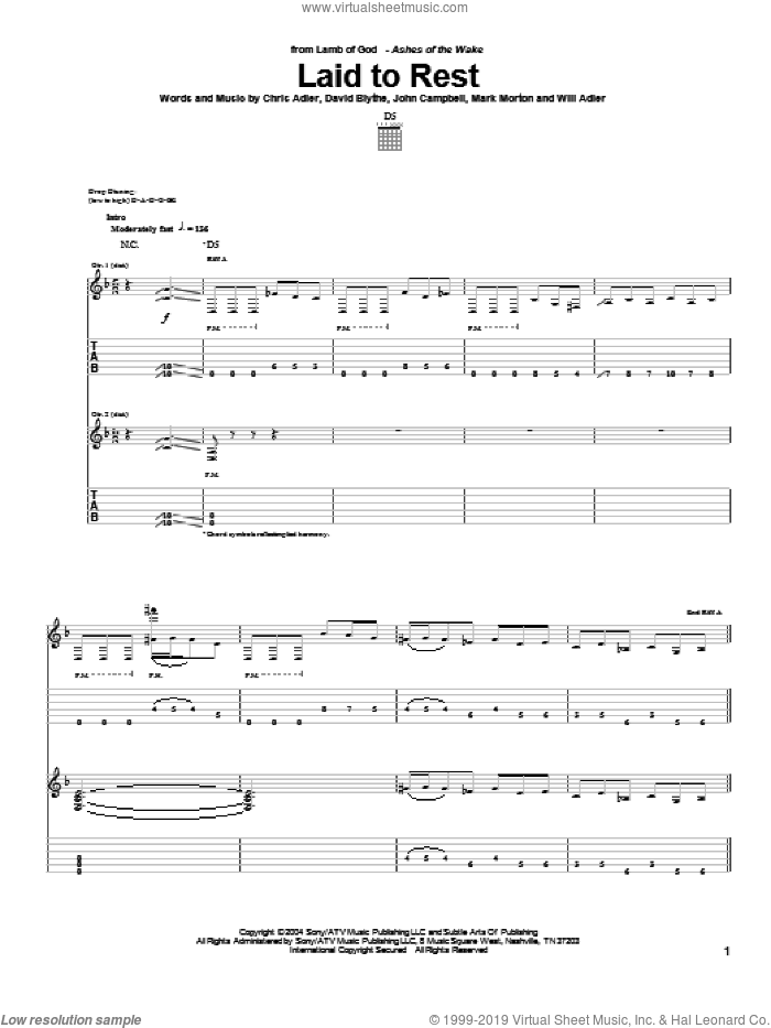 Laid To Rest sheet music for guitar (tablature) by Lamb Of God, Guitar Hero, Chris Adler, David Blythe, John Campbell, Mark Morton and Will Adler, intermediate skill level