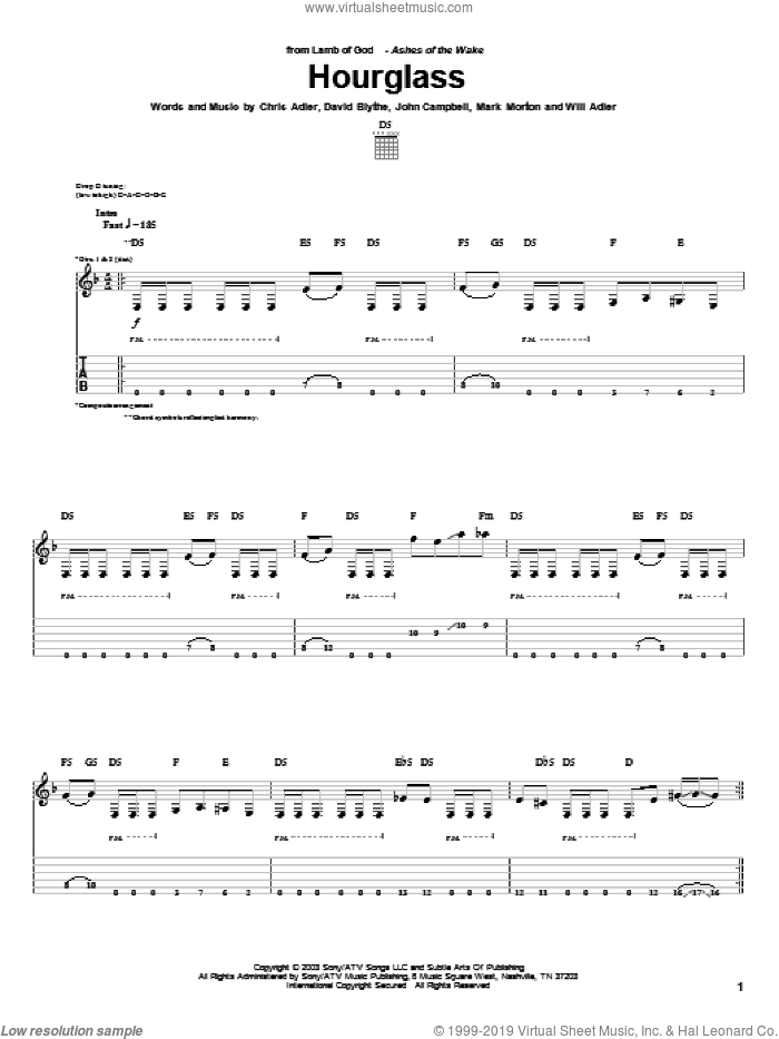 Hourglass sheet music for guitar (tablature) by Lamb Of God. Score Image Preview.
